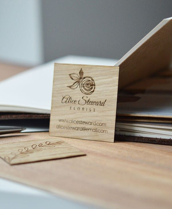 square oak wood business cards