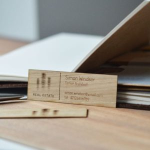 oak wood business cards