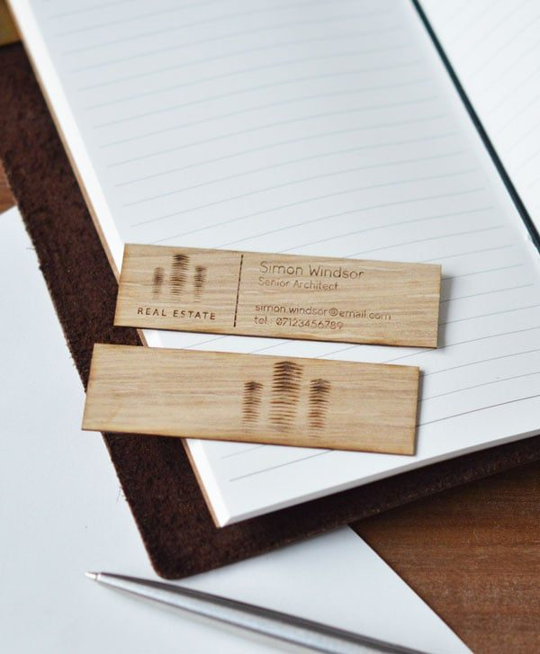 small wooden business cards
