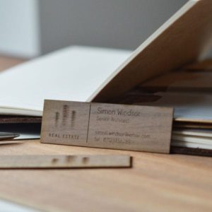 Walnut wood business cards