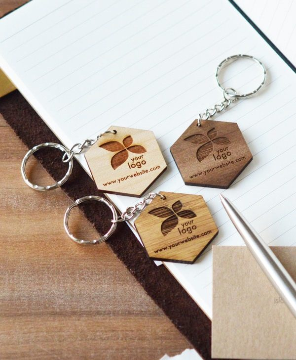 Hexagonal wood keychain