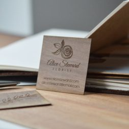 square walnut wood business cards