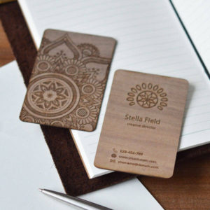 Walnut wood business card