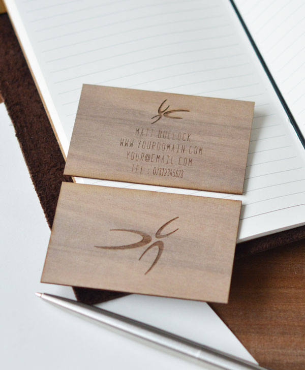 Walnut wood business cards set of 15 js laser craft business card reheart Choice Image