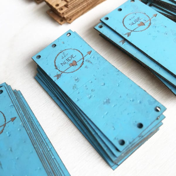 custom cork labels aqua blue